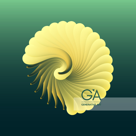 Illustration pour 3D vector illustration with seashell nautilus. Object with smooth shape. Can be used for advertising, marketing, presentation, card and flyer. - image libre de droit