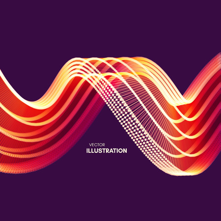 Ilustración de Wavy background with motion effect. 3d technology style. Vector illustration. - Imagen libre de derechos