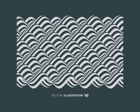 Illustration for Abstract wavy background. Pattern with optical illusion. Textbook, booklet or brochure mockup. Cover design template. Futuristic vector illustration.  - Royalty Free Image