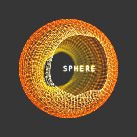 Illustration pour Sphere with connected lines and dots. Wireframe illustration. Abstract 3d grid design. Technology style. - image libre de droit