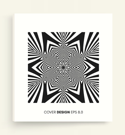 Illustration for Cover design template. Black and white design. Abstract striped background. Vector illustration. - Royalty Free Image