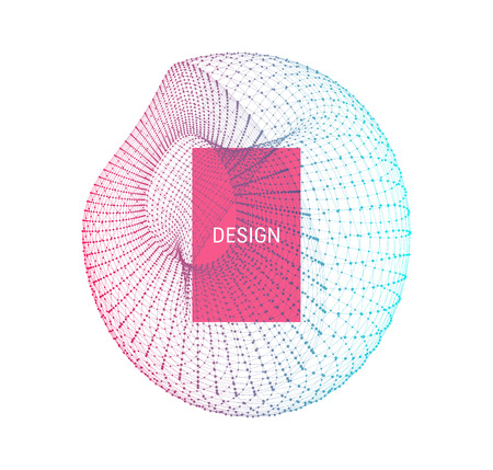 Illustration pour Wireframe object with lines and dots. Abstract 3d connection structure. Geometric shape for design. Lattice element, emblem and icon. Molecular grid. Technology style. - image libre de droit