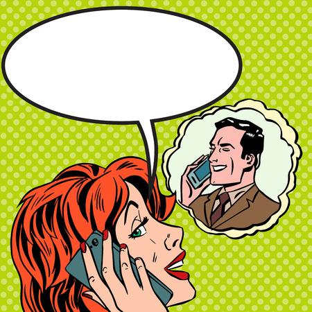 Illustration pour Woman man phone talk Pop art vintage comic - image libre de droit