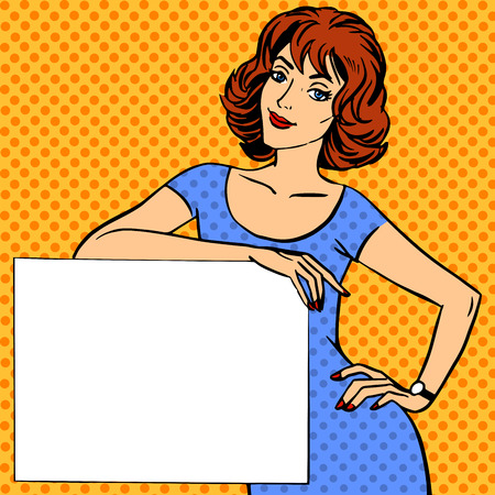 Illustration for woman with poster place for text Pop art vintage comic - Royalty Free Image