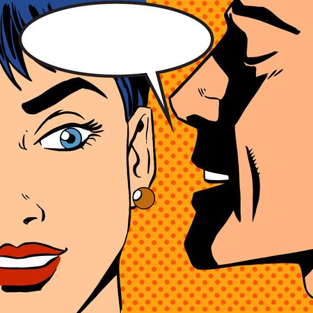 Illustration for man whispers girl Pop art vintage comic - Royalty Free Image