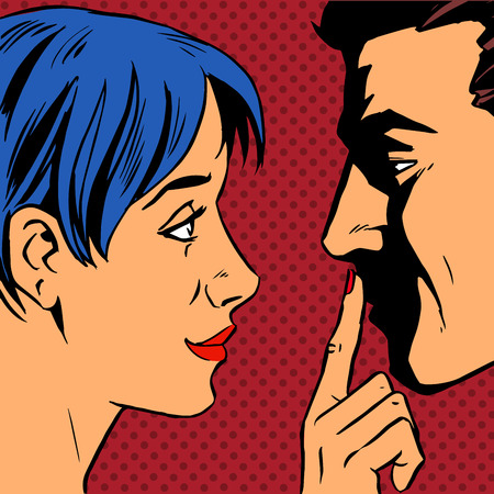 Illustration pour Stop the woman invites the man to stay put a finger to his lips. Pop art vintage comic. Gossip and rumors talk about love. Retro style - image libre de droit