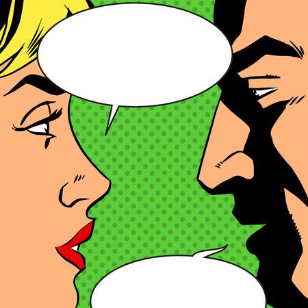 Illustration pour Man and woman talking comics retro style. Bubbles for text. The theme of love, relationships and communication. Imitation bitmap effect - image libre de droit