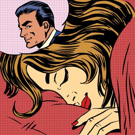 Illustration pour Dream woman man love romance lovers pop art comics retro style H - image libre de droit