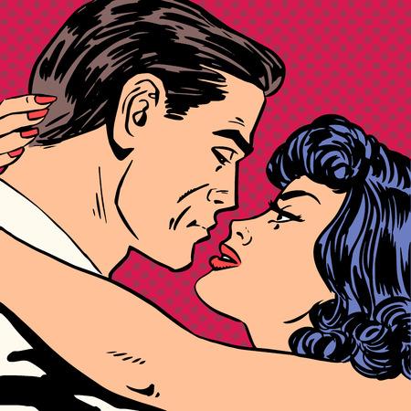 Illustration pour Kiss love movie romance heroes lovers man and woman pop art comi - image libre de droit