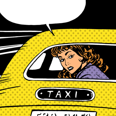 Illustration pour A woman goes to taxi looks around separation anxiety love maniac pop art comics retro style Halftone. Imitation of old illustrations. The girl in the back seat of the car looking through the glass - image libre de droit