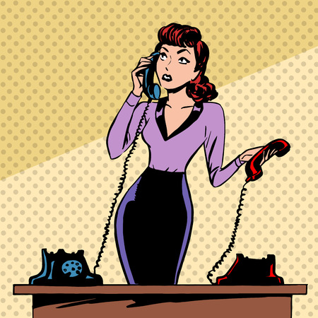 Illustration pour Girl Secretary answers the phone progress and communication technology pop art comics retro style Halftone. Imitation of old illustrations. The old woman lifts the handset and communicates with them - image libre de droit