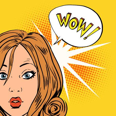 Illustration pour wow surprise girls pop art comics retro style Halftone. Imitation of old illustrations. Bubble for text - image libre de droit