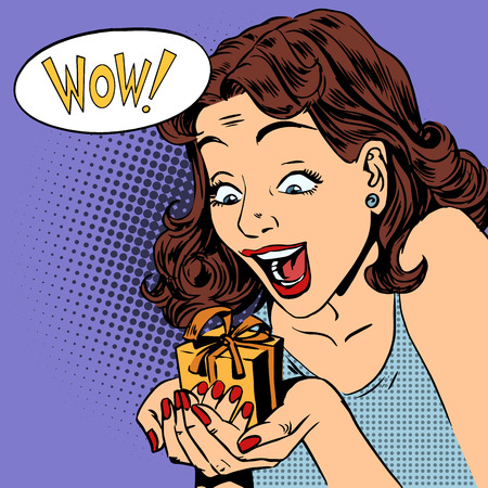 Illustration for The woman is glad to get a gift wow pop art comics retro style Halftone. Imitation of old illustrations. Emotion is the reaction of the holiday - Royalty Free Image