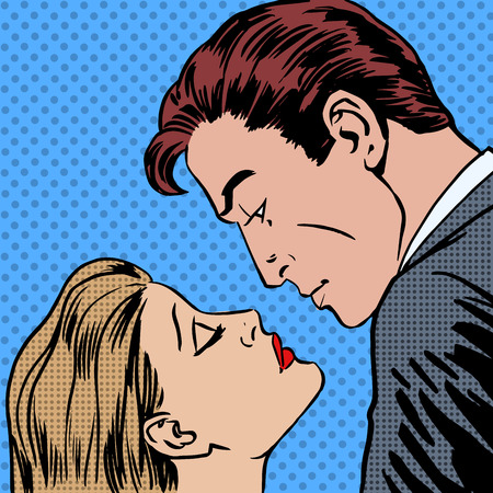 Photo pour Love men and women kiss pop art comics retro style Halftone. Imitation of old illustrations. Romantic date - image libre de droit