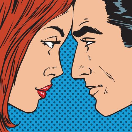 Ilustración de Man and woman looking at each other face to face pop art comics retro style Halftone. Imitation of old illustrations - Imagen libre de derechos