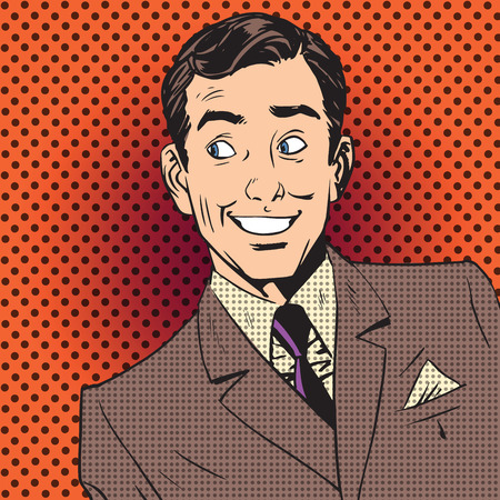 Illustration for Emotional reaction men pop art comics retro style Halftone. Imitation of old illustrations - Royalty Free Image
