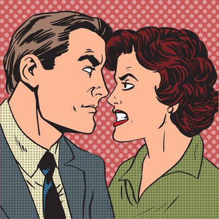Ilustración de Conflict man woman family quarrel love hate pop art comics retro - Imagen libre de derechos