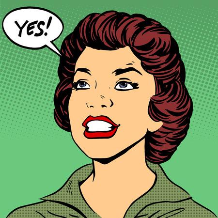 Illustration pour Black woman says Yes pop art comics retro style Halftone - image libre de droit