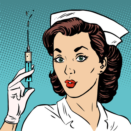 Photo for Retro nurse gives an injection syringe medicine health medicine. Vaccine epidemic - Royalty Free Image