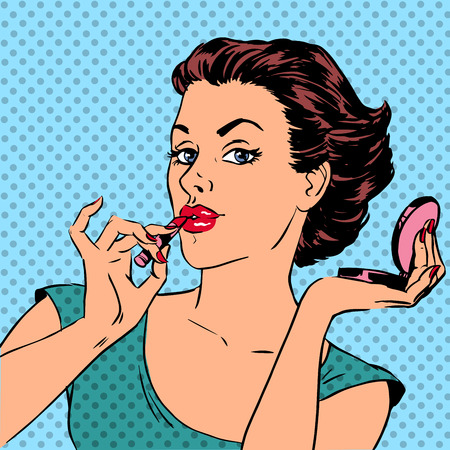 Illustration pour Girl paints lips with lipstick cosmetics beauty perfumes pop art - image libre de droit