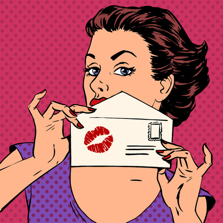 Illustration for girl with envelope for letter and kiss lipstick pop art - Royalty Free Image