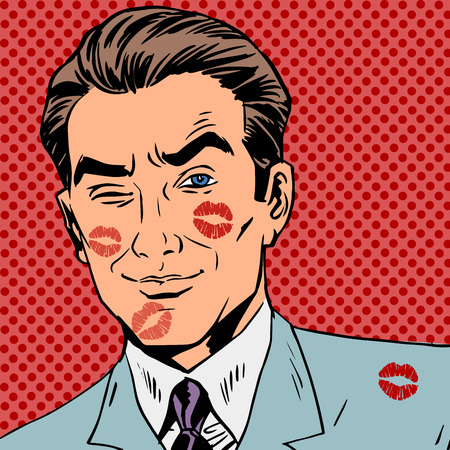 Illustration for Traces of a kiss on the man face pop art retro - Royalty Free Image