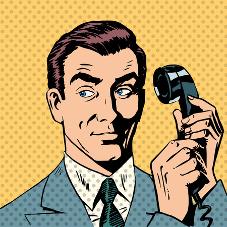 Illustration for Male businessman talking on the phone style pop art retro - Royalty Free Image