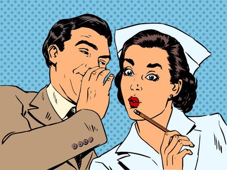 Illustration pour diagnosis patient nurse and male gossip surprise conversation st - image libre de droit