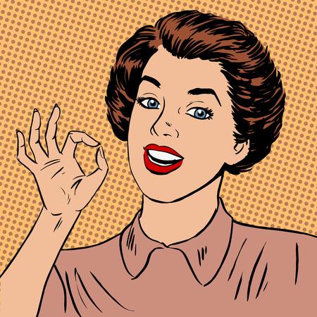 Ilustración de Woman showing okay gesture well the quality is perfectly fine Halftone style art pop retro vintage - Imagen libre de derechos