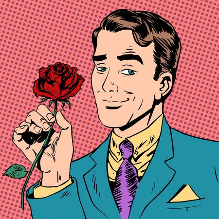 Ilustración de man flower Dating love meeting art pop retro vintage - Imagen libre de derechos