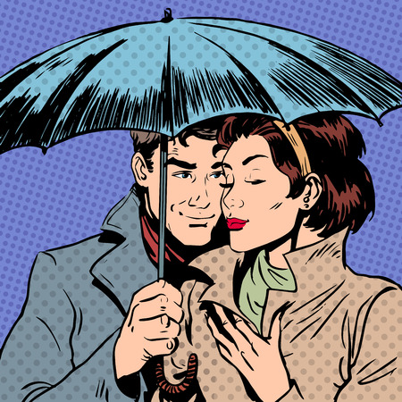 Foto de Rain man and woman under umbrella romantic relationship courtshi - Imagen libre de derechos