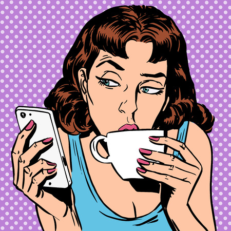 Illustration pour Tuesday girl looks at smartphone drinking tea or coffee. Lunchtime morning the rest of the evening - image libre de droit