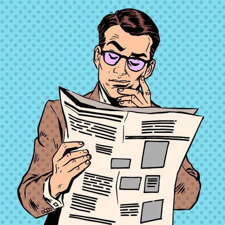 Illustration pour A man reads a news paper. Morning reading press information - image libre de droit