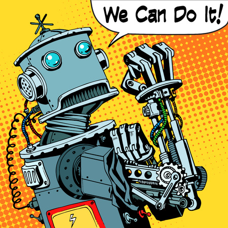 Illustration for The robot we can do it the protest power of the machine future. Technology robotics retro style pop art - Royalty Free Image