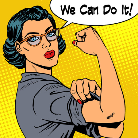 Ilustración de Woman with glasses we can do it the power of feminism. Retro style pop art - Imagen libre de derechos