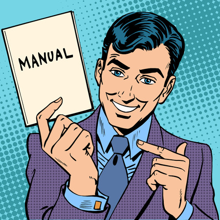 Ilustración de The man is a businessman with a manual in hand. Retro style pop art - Imagen libre de derechos