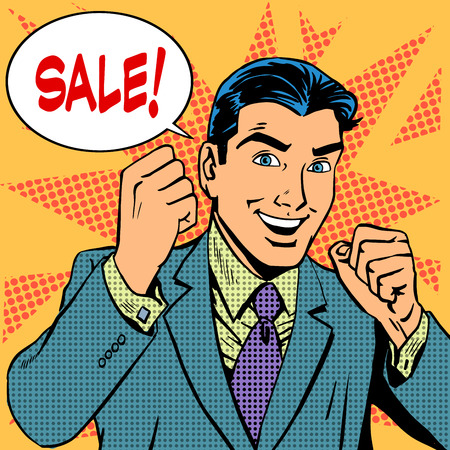 Foto de Male businessman sale sales discount store shopping. Retro style pop art - Imagen libre de derechos