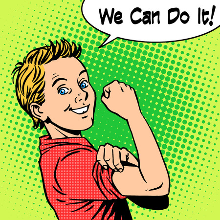 Illustration pour Boy the power of confidence we can do it. Retro style pop art - image libre de droit