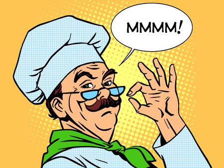 Ilustración de Taste cook the food cooking smell emotions professional. Retro style restaurant of high kitchen pop art - Imagen libre de derechos