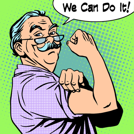 Illustration for Grandpa the old man gesture strength we can do it. Power protest retro style pop art - Royalty Free Image
