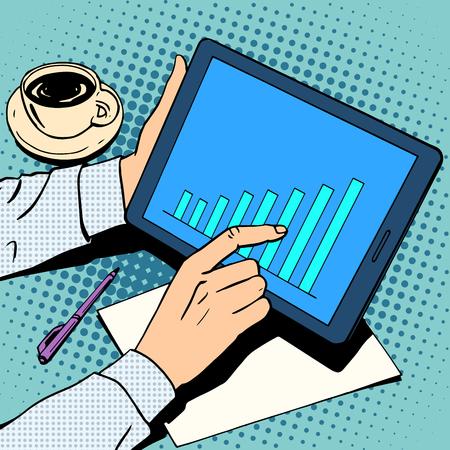 Illustration pour business concept. businessman analyzing the market growth - image libre de droit