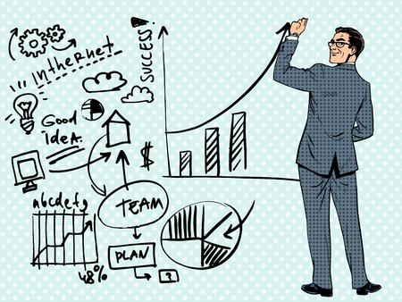 Illustration pour Businessman drawing business concept of success. Pop art retro style - image libre de droit