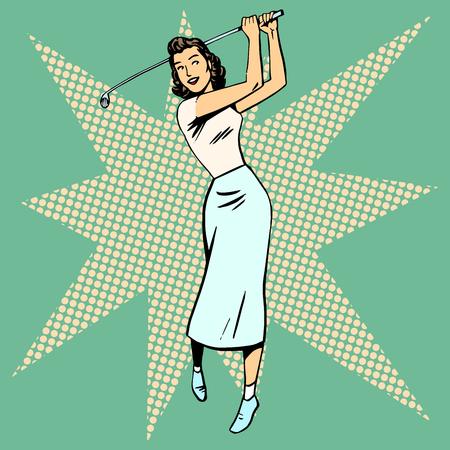 Ilustración de Beautiful woman playing Golf retro pop art. Sport active leisure vintage - Imagen libre de derechos