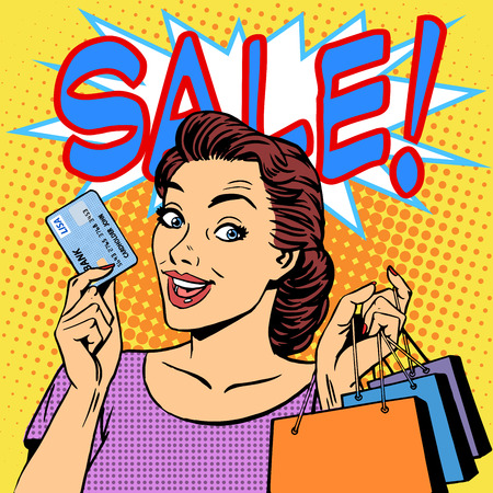 Ilustración de A woman purchases discounts credit card sale. Goods shops buyer girl retro style pop art - Imagen libre de derechos