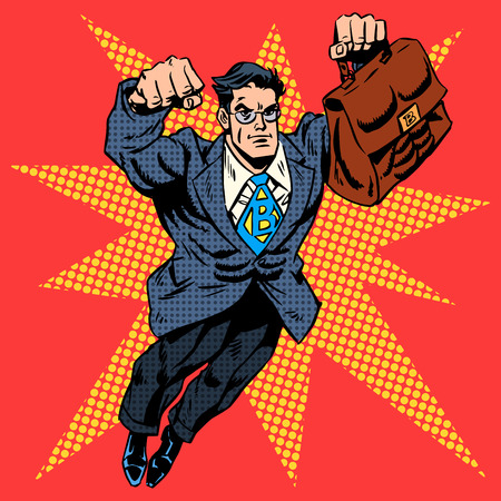 Ilustración de Businessman superhero work flight business concept retro style pop art. A grown man in a business suit. The image of bravery and courage. Retro style pop art - Imagen libre de derechos