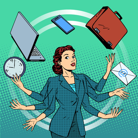 Illustration for Businesswoman many hands business idea time management. Business people in the office. Retro style pop art - Royalty Free Image