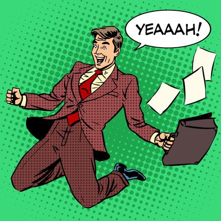 Illustration pour Business success businessman screaming with joy. Retro style pop art. Business people successful trade good worker. White adult male Caucasian - image libre de droit