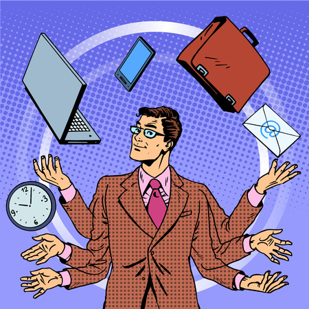 Illustration pour Time management businessman gadgets business concept. Retro style pop art. A man juggles many hands gadgets. Computer technology - image libre de droit