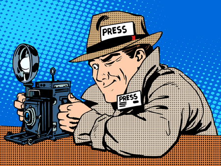 Illustration pour Photographer paparazzi at work press media camera. The reporter looks at pictures. Pop art retro style - image libre de droit