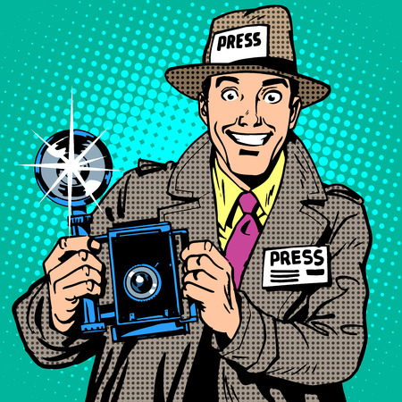 Illustration for Photographer paparazzi at work press media camera. The reporter smiles. Pop art retro style - Royalty Free Image